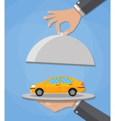 serve cloche with yellow car vector image