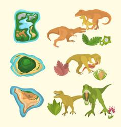 set dinosaurs including t-rex brontosaurus vector image