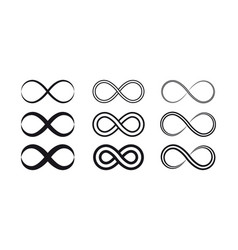 set infinity symbols and icons silhouettes vector image
