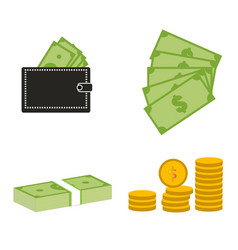 set moneydollars and coins on white background vector image