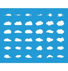 Set of blue sky clouds vector