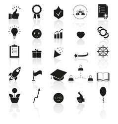 Set of bring upbest icons success reflection vector