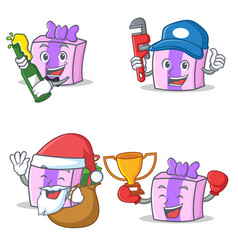 Set of gift character with beer plumber gift vector