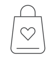 shopping bag thin line icon love and gift vector image