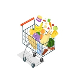 Shopping Trolley Products Food vector