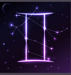 Space symbol of gemini of zodiac and horoscope vector