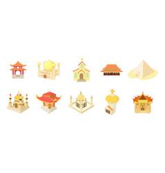 Temple icon set cartoon style vector
