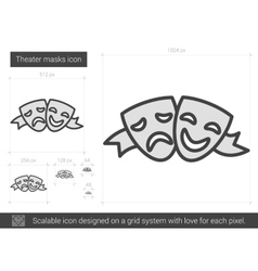 Theater masks line icon vector