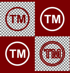 Trade mark sign bordo and white icons and vector