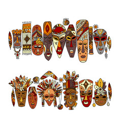 Tribal mask ethnic set sketch for your design vector