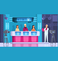 Tv contest cartoon word competition game vector