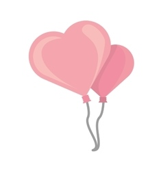 Two pink balloons heart design vector