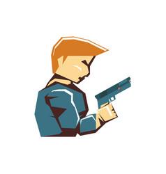 Video game gangster avatar vector