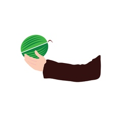 watermelon in hand vector image