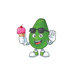 With ice cream cute avocado cartoon on white vector