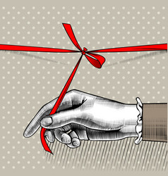 womans hand untying bow of red ribbon vector image