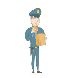 Young caucasian police officer eating hamburger vector