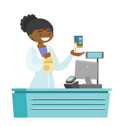 Young pharmacist showing prescription and medicine vector