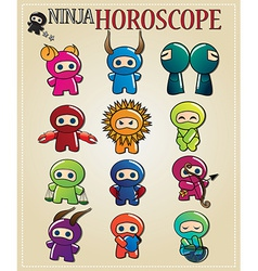 Zodiac signs with cute ninja characters vector image
