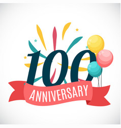 anniversary 100 years template with ribbon vector image