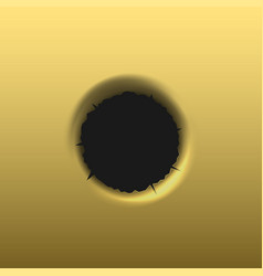 bullet hole in golden background vector image vector image