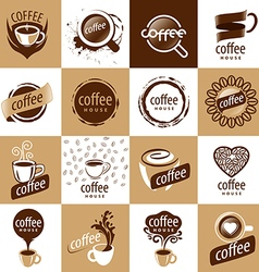 Large set of logos coffee vector
