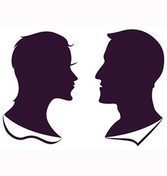 man and female profile silhouette vector image vector image
