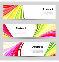 Set of Colorful Curved Lines Backgrounds Banners vector image vector image