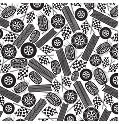 background pattern with tires and checkered flags vector image vector image
