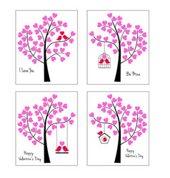 birds and trees valentine graphics vector image vector image