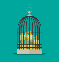 coins and dollar bills stacks in cage vector image vector image