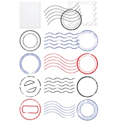 set of postmarks and stamps vector image vector image