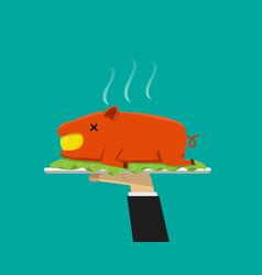 waiter hand serving grilled suckling pig on plate vector image