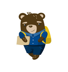 cute funny little bear student pupil animal in a vector image