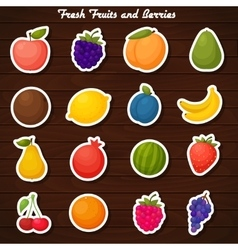 Fruits stickers icon set vector image