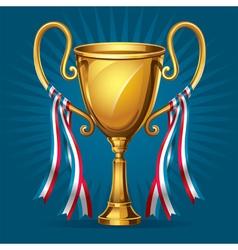Golden award trophy and ribbon vector image
