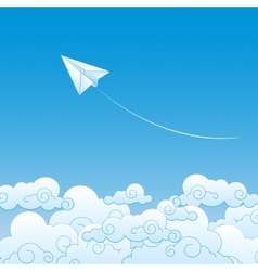 Paper plane against sky with clouds vector