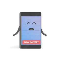 smartphone concept upset low battery charge cute vector image vector image