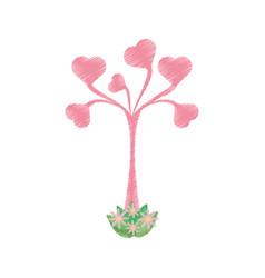 drawing tree leaves shape heart romantic vector image