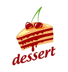 Logo cake with two cherries vector