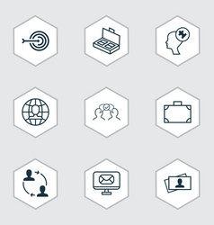 set of 9 business management icons includes email vector image vector image