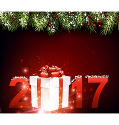 2017 New Year red background vector