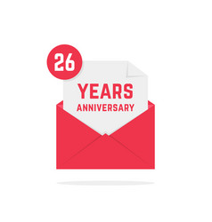 26 years anniversary icon in red open letter vector image