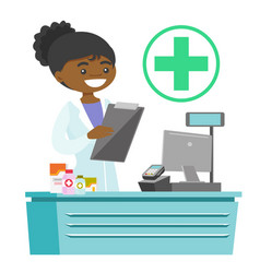 African-american pharmacist writing prescription vector