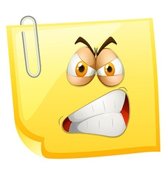 Angry face on yellow paper vector