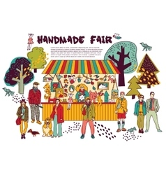 Art hand made fair toys in park outdoor vector