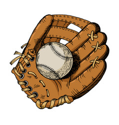 Baseball glove engraving vector