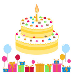 birthday cake balloons and presents vector image