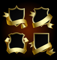 black badge set with gold border and ribbon vector image