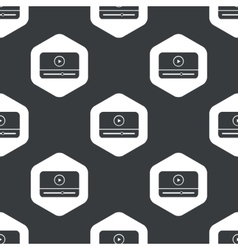 Black hexagon mediaplayer pattern vector